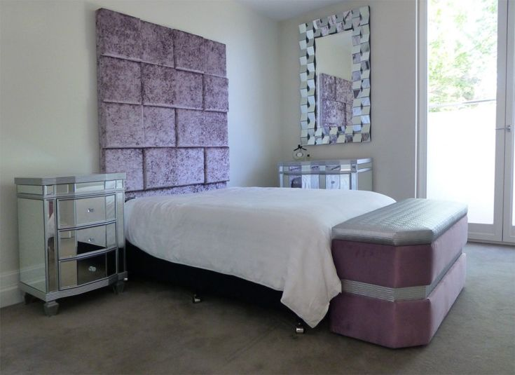 Feature Square-Paneled Bed Head - Silver and Purple Bedroom Furniture