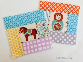 chick chick sewing: 2014 My first block of the year is a horse! 今年の干支(うま)にちなんだログキャビンキルトブロック: fussy cutting cute fabrics to make centers of quilt blocks!