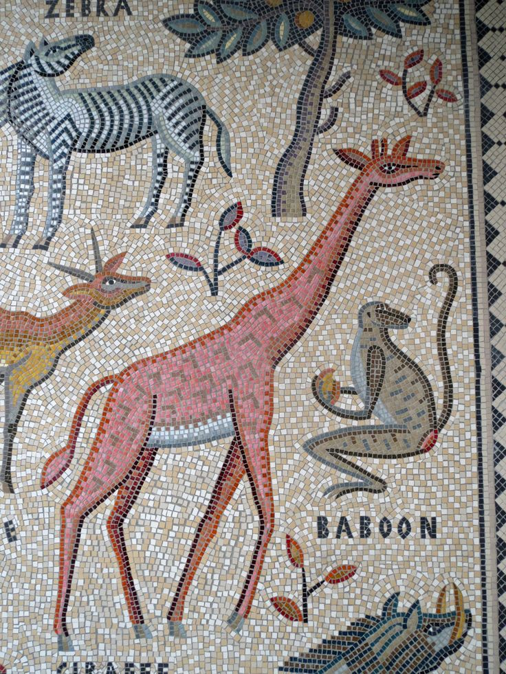 giraffe baboon zebra mosaic detail of hackney downs mosaic