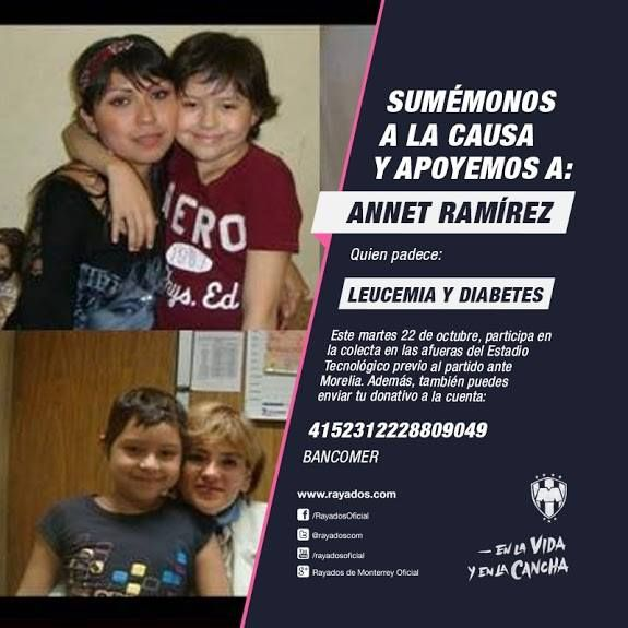 La colecta en el partido de #Rayados vs. Morelia será a beneficio de la niña Annet Ramírez.