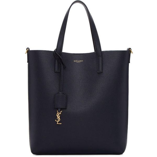 Saint Laurent Navy Toy North South Shopping Tote ($1,040) ❤ liked on Polyvore featuring bags, handbags, tote bags, navy, tote purses, reversible tote, reversible tote bags, navy blue handbags and blue handbags