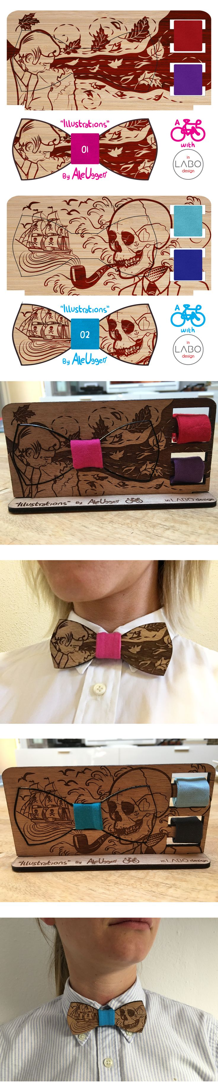 """ILLUSTRATIONS"" by Aleuggeri & InLabodesign  Set of 10 wooden illustrated papillon.  Wooden Bowties #1 #2"