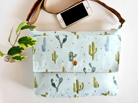 Womens crossbody bag womens messenger bag cactus print