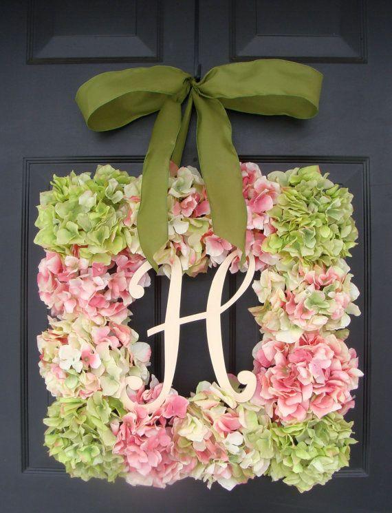 XL Hydrangea Wreath Square Spring Wreath Spring by ElegantWreath