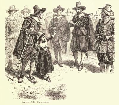 """""""Captain Alden Denounced,"""" illustration published in A Popular History of the United States, Vol 2, circa 1878"""