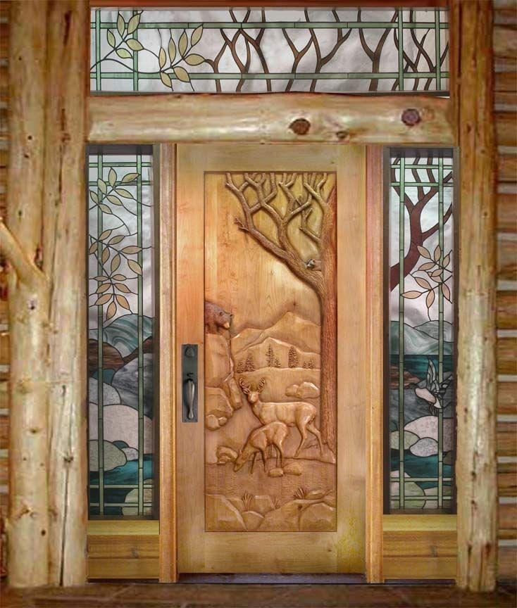 Custom Carved Deer Door....doors Like This On My Dream Log Cabin