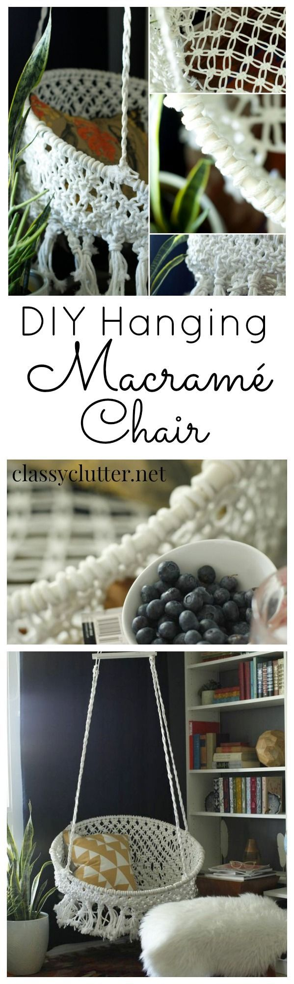 #DIY Home Decor Idea - Hanging Macrame Chair from ClassyClutter.net