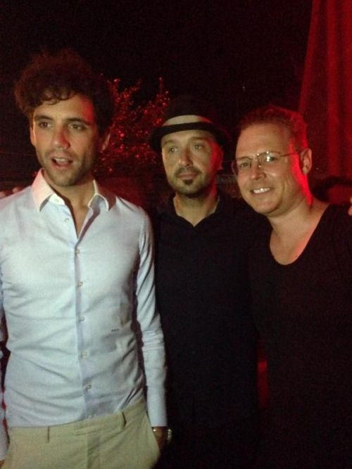 Mika with Chef Joe Bastianich and ? at the Bluvertigo concert in Milan in July 2014