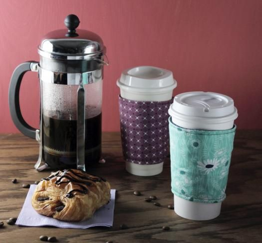Make a reversible coffee cozy using your favorite fabrics!