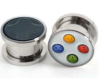 Game Console Button Plugs Stainless Steel Flare Flesh by EarsPlugs