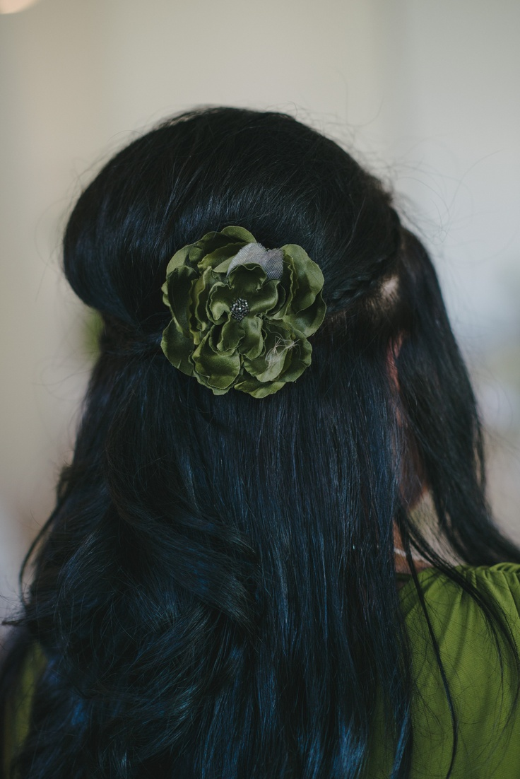Maid of Honours Hair with a beautiful hand made flower by Joalie Petit