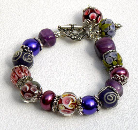 Very Berry Handmade Beaded Bracelet by bdzzledbeadedjewelry, $34.00