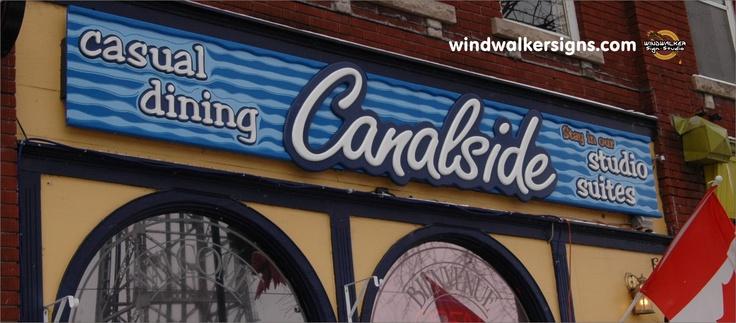 A tavern sign overlooking the Welland Canal.   Windwalker Sign Studio