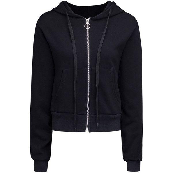 Black Zip Up Cropped Hoodie ($47) ❤ liked on Polyvore featuring tops, hoodies, zip up hoodie, cotton hoodies, cropped hoodies, cotton hoodie and hooded pullover