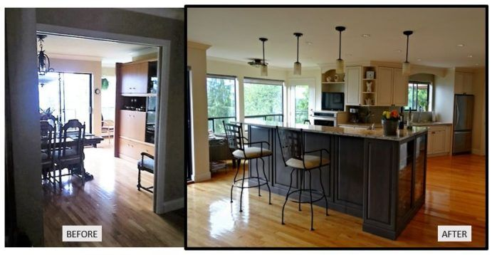 Removing uneccessary walls gives a much more functional new kitchen.