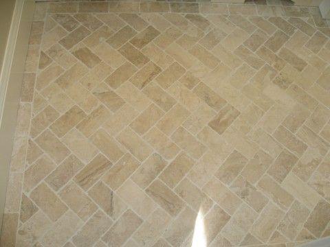 Bath floor - Herringbone pattern 3x6 Diana Royal travertine. Bordered with 3x6 tile. 1626 N. Adams Street, Arlington, VA 22201 « Arlington Property Ventures, LLC
