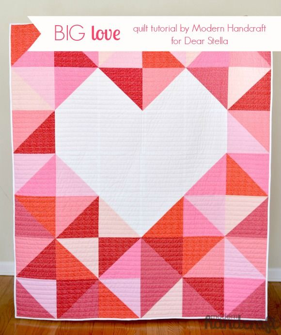 Big Love Quilt Tutorial from Modern Handcraft for Dear Stella Design ~ This lovely quilt features Dear Stella's Confetti Dots in an easy and large scale half square triangle design! Follow this pin to the tutorial and find the fabric here: http://www.fabricshack.com/cgi-bin/Store/store.cgi?cart_id=8608663.IP71.55.57.11IP.6056.s0&lastmenu=&product=dearstella_miniconfettidots at the Fabric Shack!