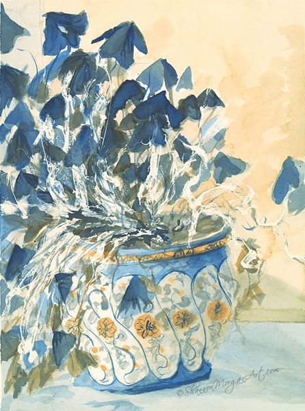 "Still Life, Blue Shamrock plant in blue/white pot by Shannon Morgan. ""#017 Blue Plant, Blue Pot"" (12 2/3 x 17 1/4 original) Media: Watercolour Price: $700 CAD http://shannonmorganart.com/still-life/017-blue-plant-blue-pot/"