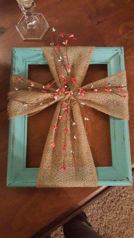 Use a Frame & Burlap to make this hanging Cross wall art / http://www.deerpearlflowers.com/christian-wedding-corss-ideas/