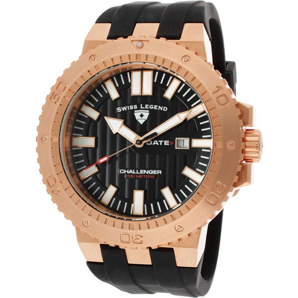 Swiss Legend Challenger Black Silicone And Dial Rose-Tone Case... ($40) ❤ liked on Polyvore featuring men's fashion, men's jewelry, men's watches, black, watches, mens chronograph watch, mens watches, mens silicone watches, mens rose gold watches and mens chronograph watches