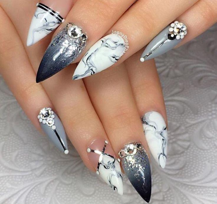 Grey stilettos nails                                                                                                                                                                                 More