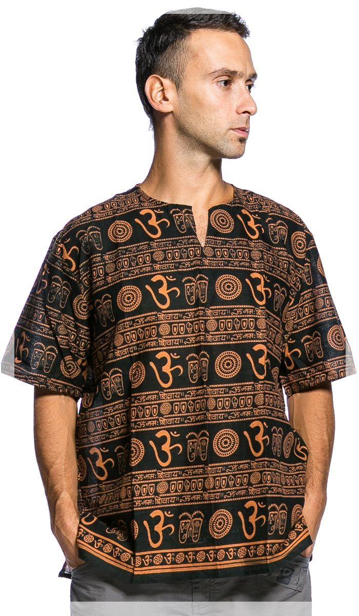 мужская рубашка, хиппи, Ом, Om, индийская рубашка, India, men's shirt. 1250 рублей