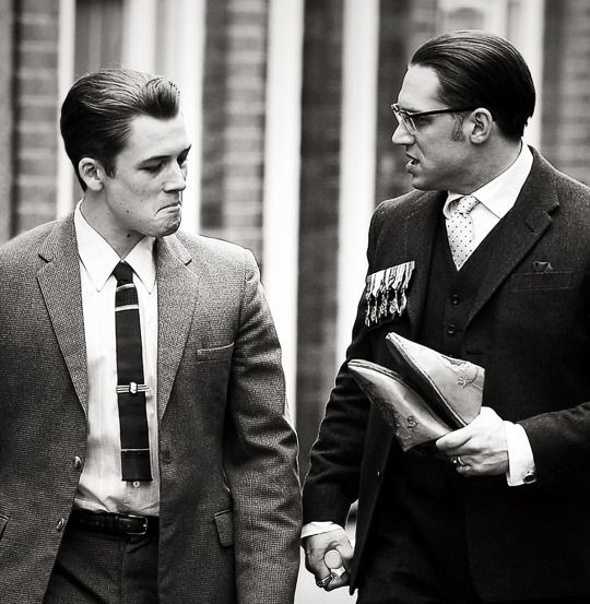 Taron Egerton and Tom Hardy  in Legend  where Taron plays Teddy Smith,  Ron Kray's (Tom) boyfriend ) | London | 15 July 2014