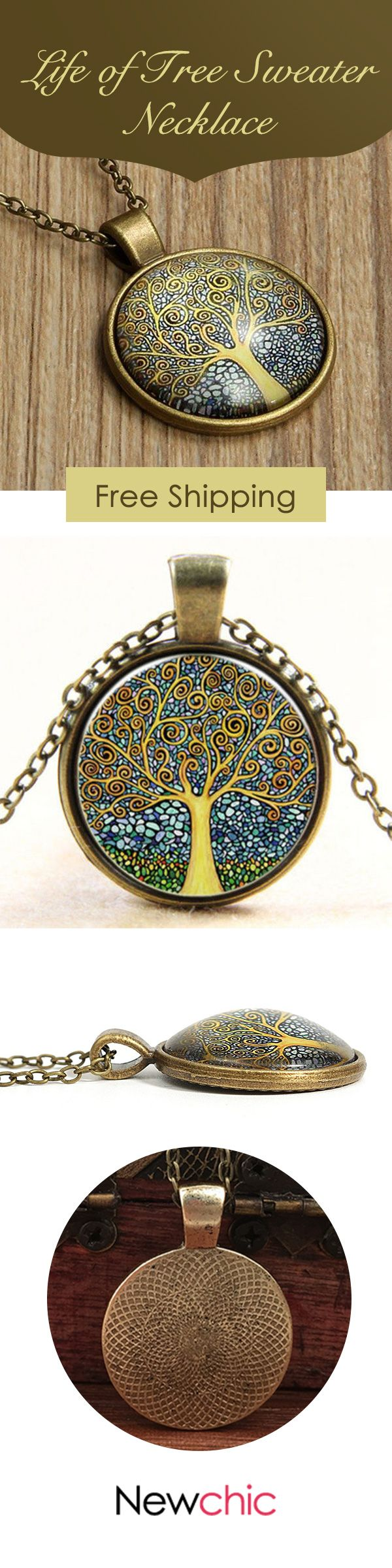 [Newchic Online Shopping] 46%OFF Life of Tree Sweater Necklace
