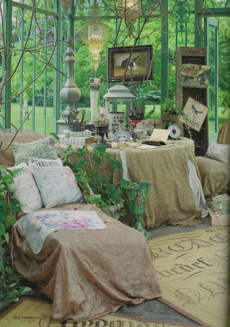 .#summer garden room #greenhouse  #shabby chic #burlap