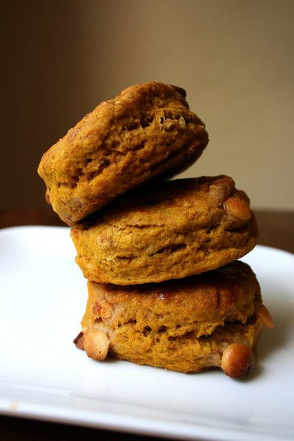 Pumpkin Scones with White Chocolate Chips by stetted, via Flickr