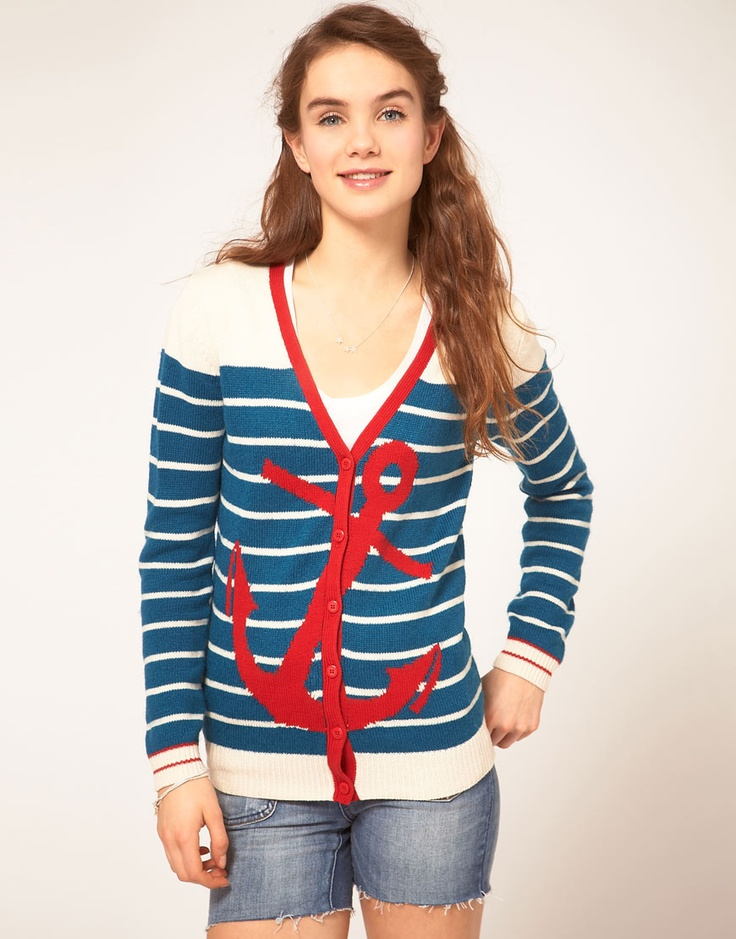 anchor cardi.Stripes Cardigans, Nautical Cardigans, Anchors Design, Asos Stripes, Asos Nautical, Nautical Asos, Asos Anchors, Anchors Cardigans, Sailors Style