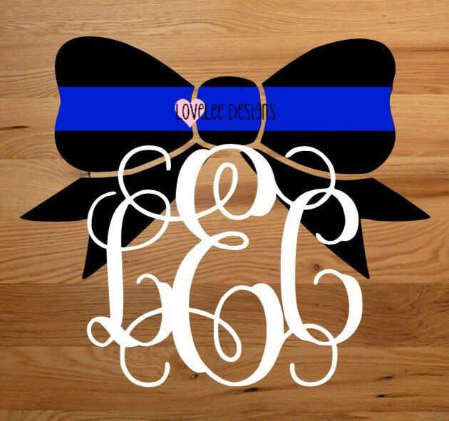 Thin Blue Line White Monogram Bow - Vinyl Decal - Police Support - Yeti Decal - Car Decal - Sticker by LoveLeeDesignsByA on Etsy https://www.etsy.com/listing/457035458/thin-blue-line-white-monogram-bow-vinyl