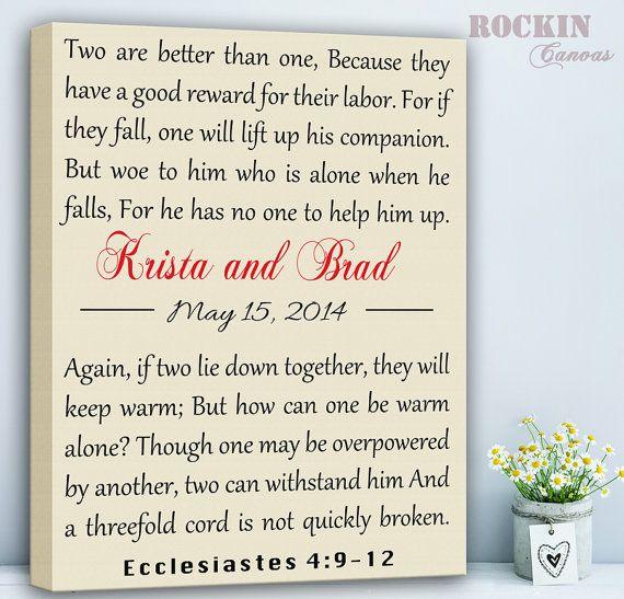 custom bible verse ecclesiastes 49 12 wedding lyrics personalized custom canvas