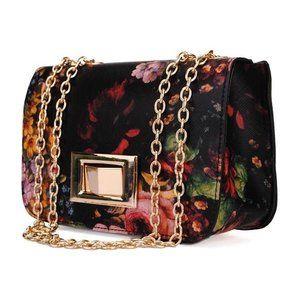 Olieverf dames schoudertas Het is een vintage dames schoudertas, gemaakt van geschilderde bloemen Pu-leer en het patroon is vintage-look en klassiek. Het is zeker een goede keuze Materiaal PU lee...