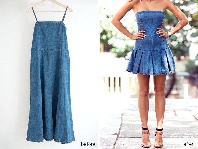 Transform a simple denim shift dress www.apairandasparediy.com