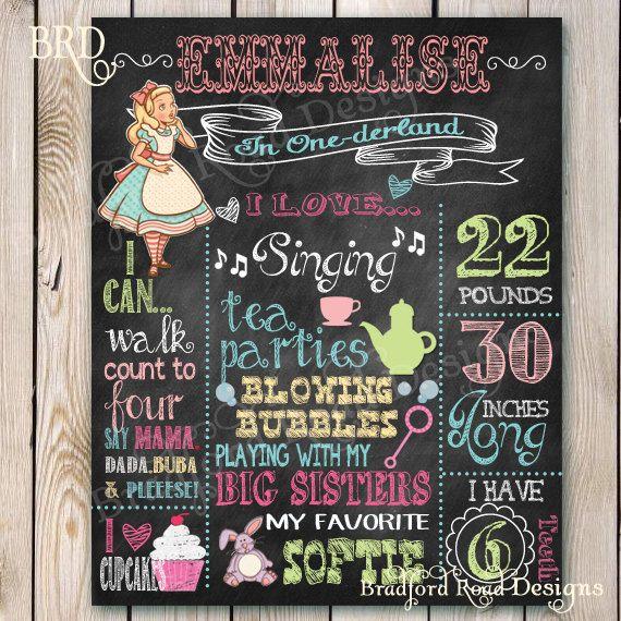 1st Birthday Chalkboard Sign Alice in ONE-derland Wonderland Chalkboard Printable 8x10 or 16x20 on Etsy, $25.00