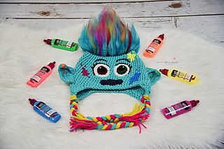 66f7bc9c477 FREE CROCHET PATTERN! Check out these Troll Hats from Tawnya Myers! She s  got several to make.