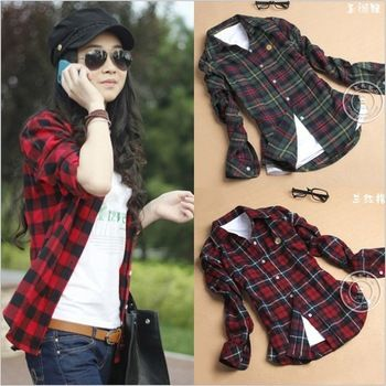 15 cor a camisa das mulheres Outono de manga comprida outerwear 2013 mulheres espessamento 100% algodão fino camisa xadrez roupas femininas