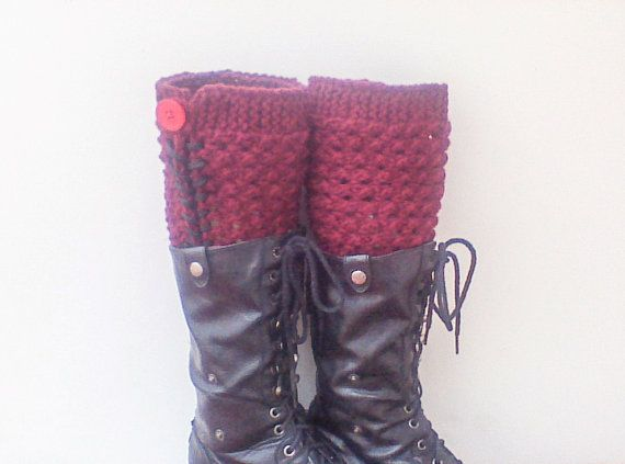 Hey, I found this really awesome Etsy listing at https://www.etsy.com/listing/197852736/burgundy-knit-leg-warmers-with-buttons