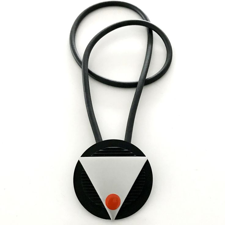Halsband, gummi, aluminium Necklace, rubber, lagenlook