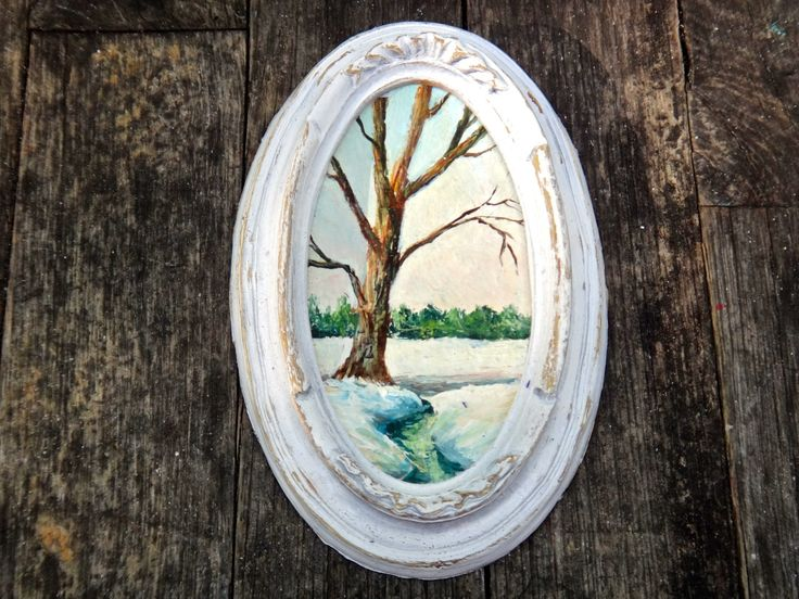 Painting, Oval Frame, Vintage Art, Small Framed Art, Snowy Landscape, Hostess Gift, White Oval Frame, White Frame, Vintage Art, Rustic by CasaKarmaDecor on Etsy