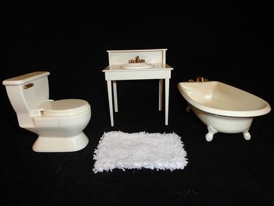 Madeline Paris Doll House Furniture Bathroom Set Sink Tub Toilet Mat | eBay