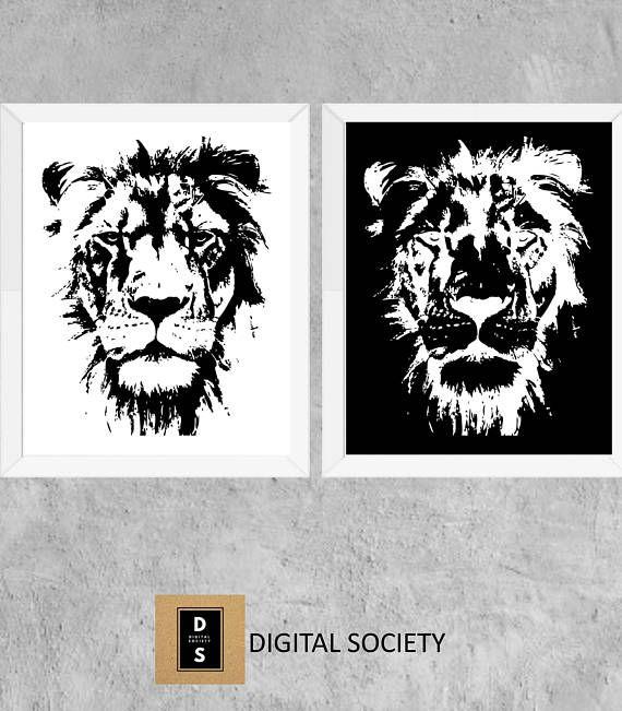 digital printable lion monochrome wall art decor art