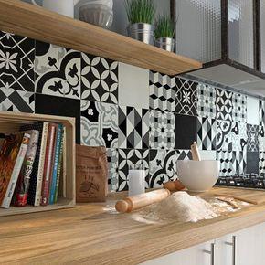 Carreau de ciment Belle époque décor emy gris, noir et blanc, l.20.0 x L.20.0 cm