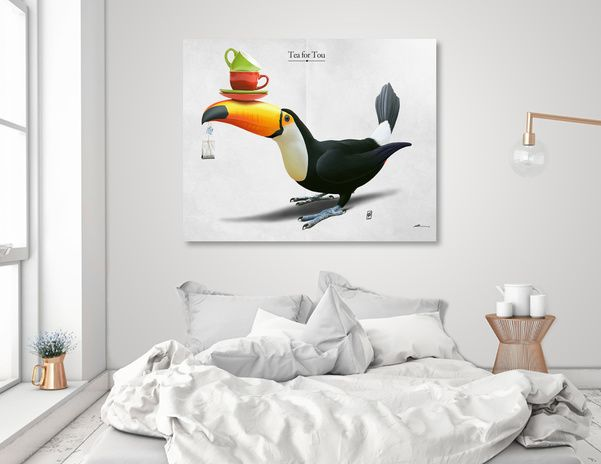 Discover «Tea For Tou», Numbered Edition Aluminum Print by rob art | illustration - art | decor | wall art | inspiration | animals | home decor | idea | humor | gifts