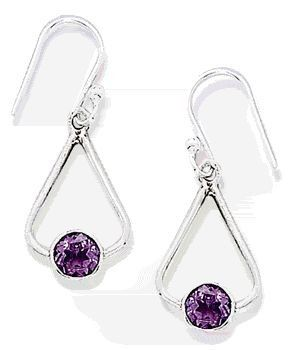 Tri Shape Drop Earrings With Amethyst        Price: $42.95