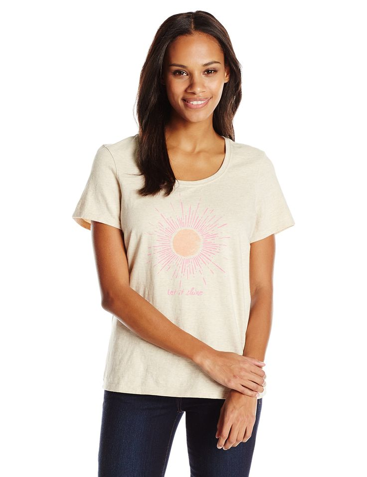 Life is good Women's Scoop Let It Shine Sun Crusher Tee, Large, Heather Oatmeal. Garment washed for softness. Printed graphic. LIG donates 10% of its annual net profits to their non-profit the Playmakers Foundation. The Playmakers Foundation Uses Play therapy to aid kids who have experienced trauma in their lives.