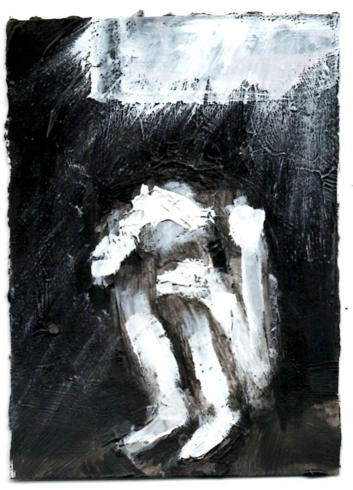 """LUX FUGIO""    acrylic,  original art  ,ACEO  jack larson 3.5""x2.5"" #Abstract"