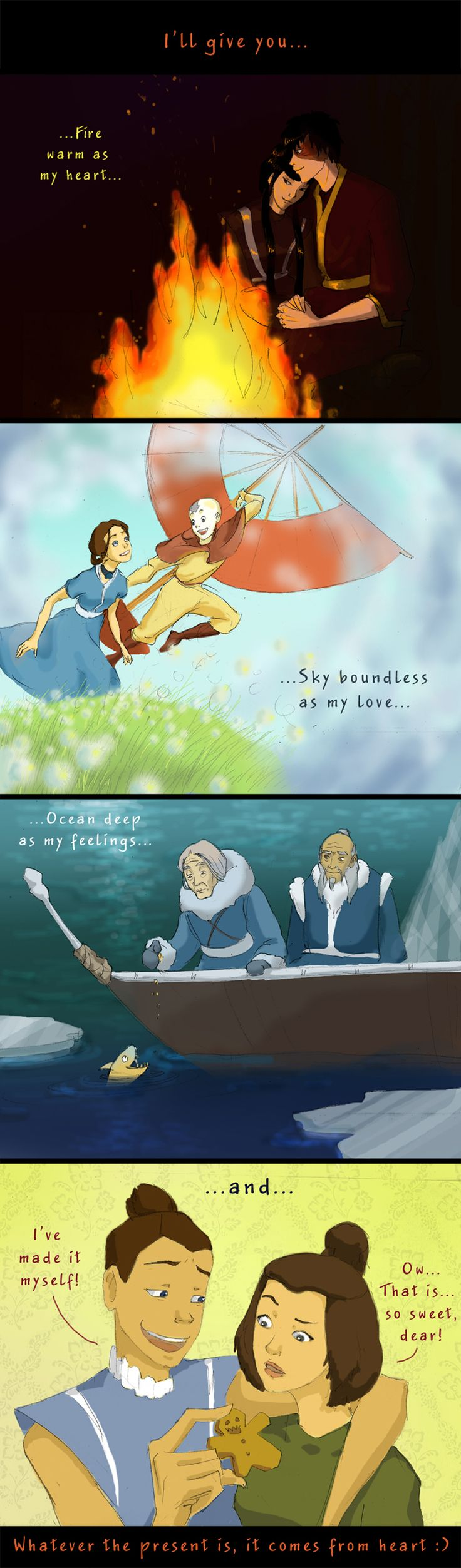 Avatar presents by ~Helkaril on deviantART... I don't ship maiko or kataang...... or suka,,, but I just thought this was funny.