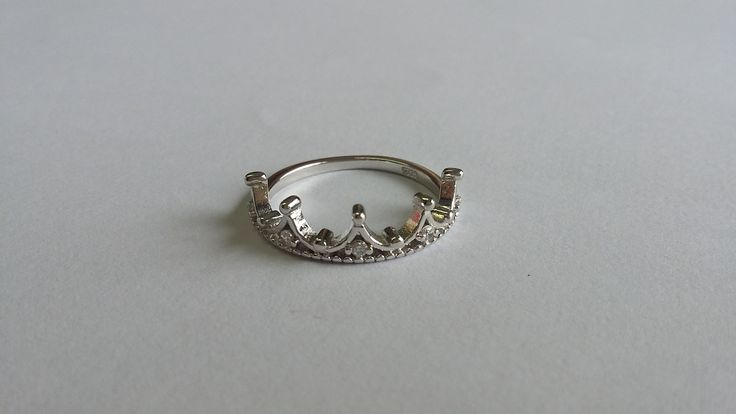 925 Sterling Silver Tiara (Princess) Ring, with CZ